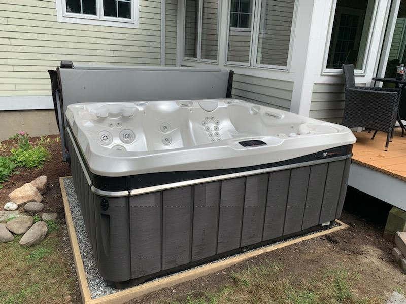 crushed stone hot tub base