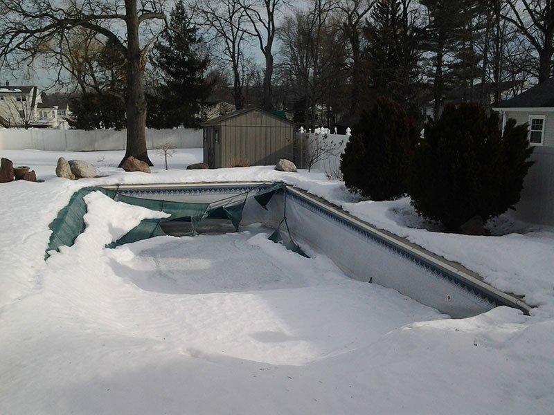 winter pool damage MA & NH