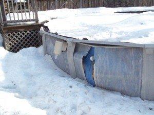 winter above ground pool damage