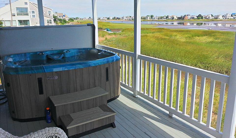 hot tub on a deck plumb island newburyport